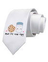 Cute Milk and Cookie - Made for Each Other Printed White Necktie