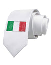 Italian Flag - Distressed Printed White Necktie