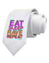 Eat Sleep Rave Repeat Color Printed White Necktie