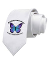 Autism Awareness - Puzzle Piece Butterfly Printed White Necktie