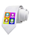 Clown Face Pop Art Printed White Necktie