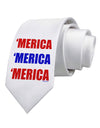 Merica Merica Merica - Red and Blue Printed White Necktie
