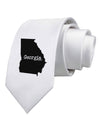 Georgia - United States Shape Printed White Necktie