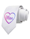Mom Heart Design - Gradient Colors Printed White Necktie