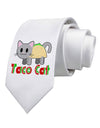 Cute Taco Cat Design Text Printed White Necktie