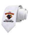 Secretary - Superpower Printed White Necktie
