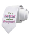 I'm a Mom - What's Your Superpower - Pink Printed White Necktie