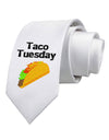 Taco Tuesday Design Printed White Necktie