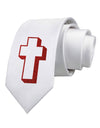 Simple Cross Design Glitter - Red Printed White Necktie