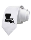 Louisiana - United States Shape Printed White Necktie