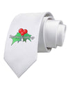 Holly Seasons Greetings Text Printed White Necktie