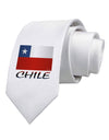 Chile Flag Printed White Necktie