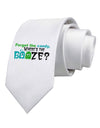 Where's The Booze Printed White Necktie