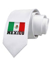 Mexico Flag Printed White Necktie