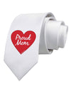 Proud Mom Heart Printed White Necktie