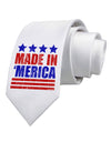 Made in Merica - Stars and Stripes Color Design Printed White Necktie