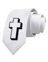 Simple Cross Design Black Printed White Necktie