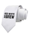Red White and Brew Printed White Necktie