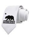 California Republic Design - Cali Bear Printed White Necktie