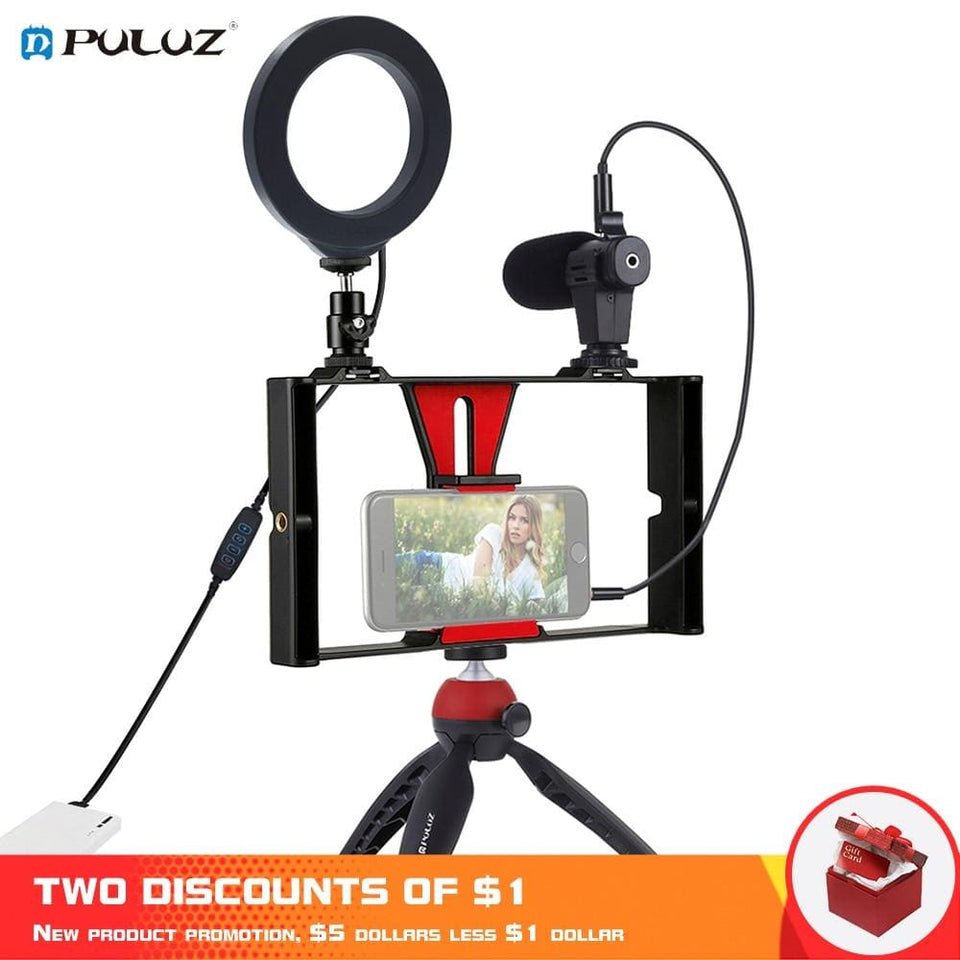 PULUZ 4 in 1 Vlogging Live Broadcast Smartphone Video Rig +4.6 inch Ring LED Video Light & Microphone+Tripod Mount+Tripod Head - Joy Values