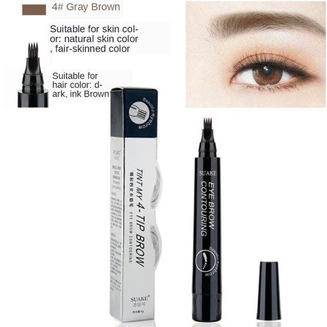 MB New 4 Heads Eyebrow Pen Waterproof Fork Tip Eyebrow  Pencil Long Lasting Professional Fine Sketch Liquid Eye Brow 5 colors - Joy Values
