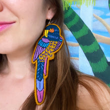 Load image into Gallery viewer, Brown Embroidered Bird earrings