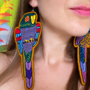 Brown Embroidered Bird earrings