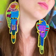 Load image into Gallery viewer, Green Embroidered Bird earrings
