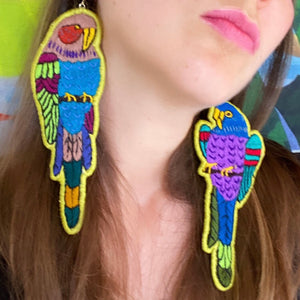 Green Embroidered Bird earrings