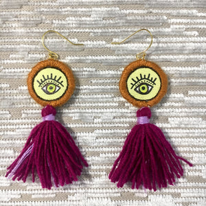 Mini eye tassel earrings