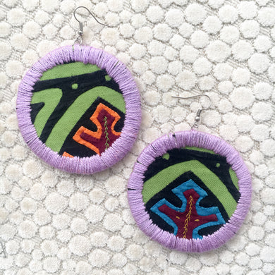 LARGE Fabric Circle Earring