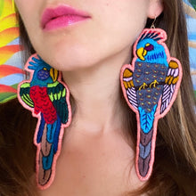 Load image into Gallery viewer, Peach Embroidered Bird earrings