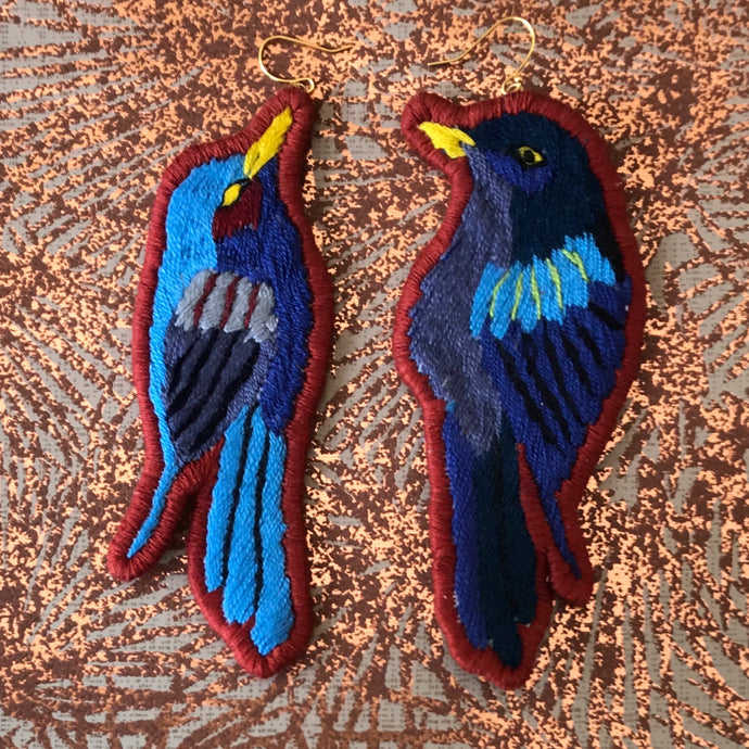 Blue and Brick Bird Earrings