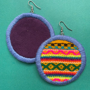LARGE Fabric Circle Earrings