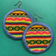 Load image into Gallery viewer, LARGE Fabric Circle Earrings