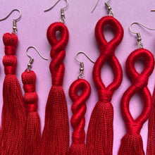 Load image into Gallery viewer, Red TASSEL Earrings
