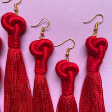 Load image into Gallery viewer, Red KNOT TASSEL Earrings