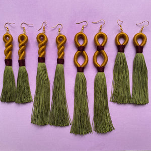 Gold INFINITY green TASSEL Earring