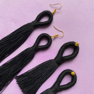 Black LOOP TASSEL Earring