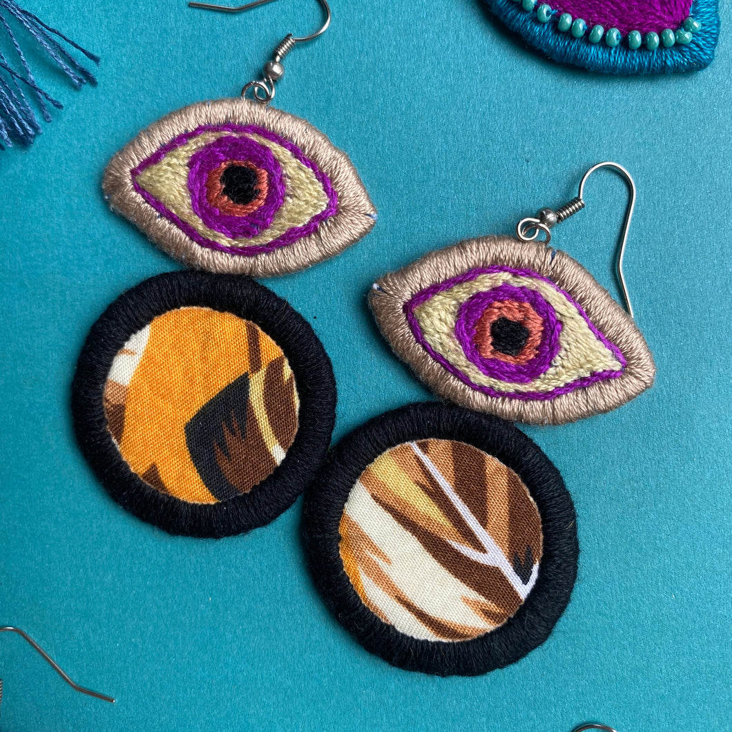 Embroidered Eye + Fabric earrings
