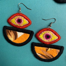 Load image into Gallery viewer, Embroidered Eye + Fabric earrings