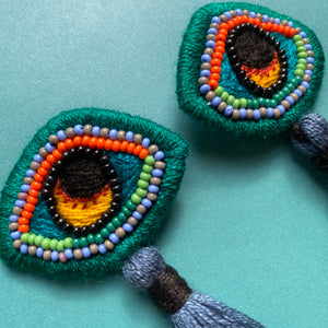Embroidered Eye earrings
