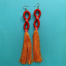 Load image into Gallery viewer, Orange INFINITY TASSEL Earrings