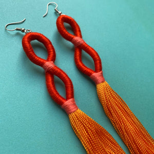 Orange INFINITY TASSEL Earrings