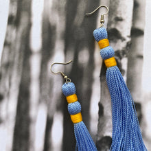Load image into Gallery viewer, Bright Yellow + Blue TASSEL Earrings