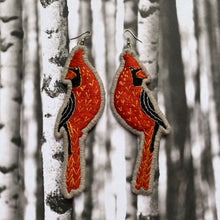 Load image into Gallery viewer, Red Cardinal Embroidered Earrings