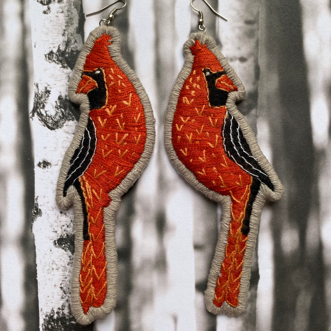 Red Cardinal Embroidered Earrings