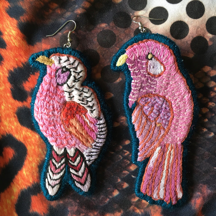 Pink and Dark Blue Bird Earring