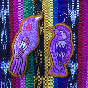 Purple and Yellow Bird Earring
