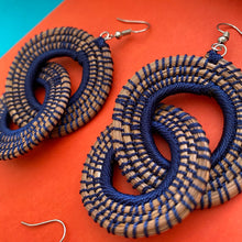 Load image into Gallery viewer, Blue Woven Grass DOUBLE HOOP earrings
